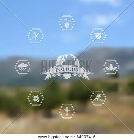 Vector blurred background with eco and organic food icons