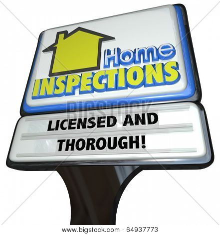 Home Inspection words on a business sign advertising an inspector service