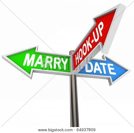 Marry, Date and Hook Up words on three arrow signs