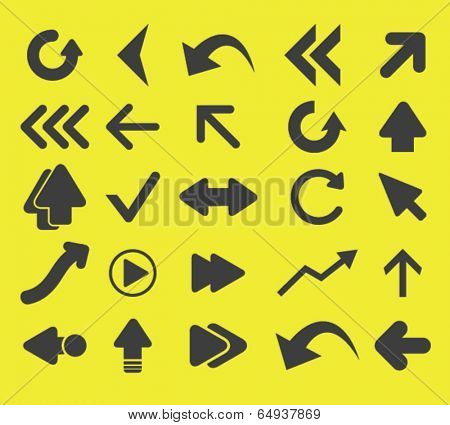 arrow, direction icons, signs set, vector