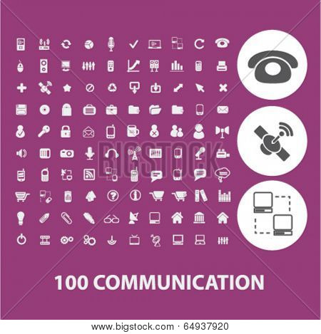 100 communication icons set, vector