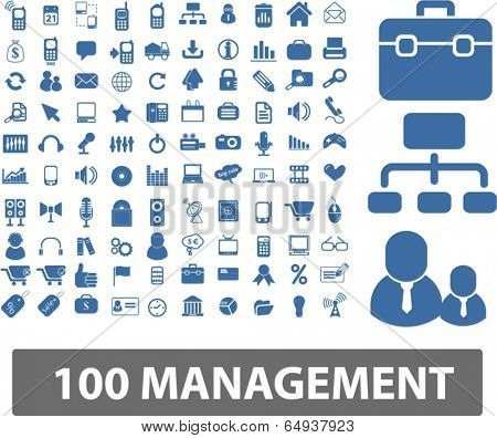 100 management, organization icons, signs set, vector