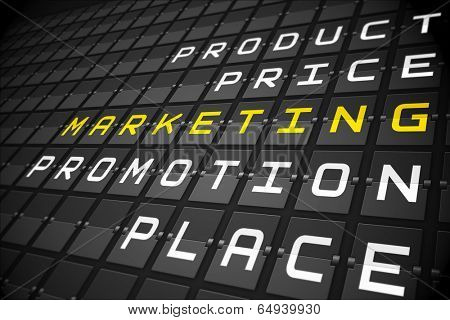 Marketing buzzwords on digitally generated black mechanical board