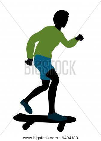 African American Skateboarder Silhouette