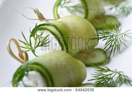 Rolls Of Fresh Cucumber With Cheese On Skewer Macro