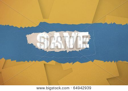 The word save against digitally generated orange paper strewn