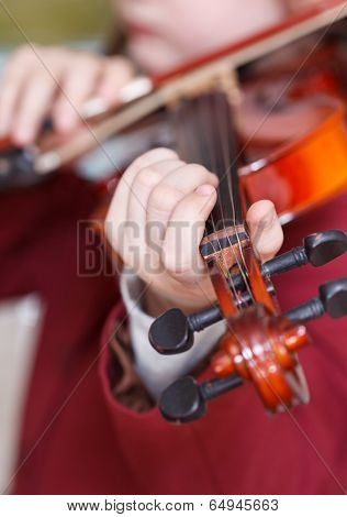 Girl Plays On Violin - Chord On Fingerboard