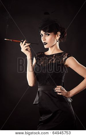 retro woman with a mouthpiece in a hand