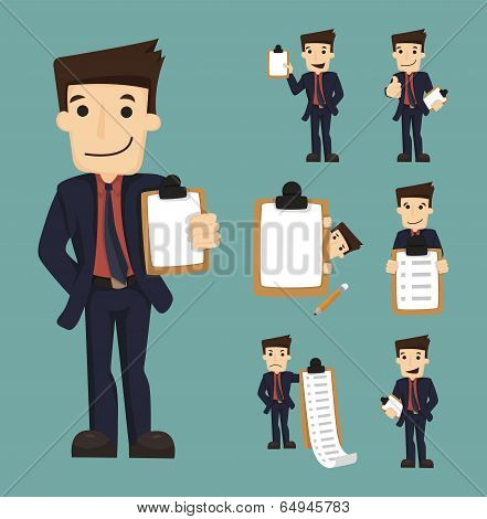 Set Of Businessman Characters With Checklist