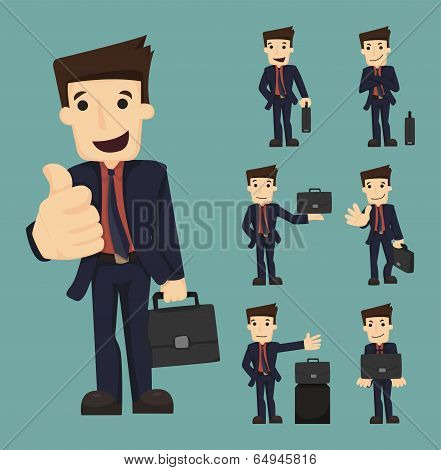 Set Of Businessman With Bag