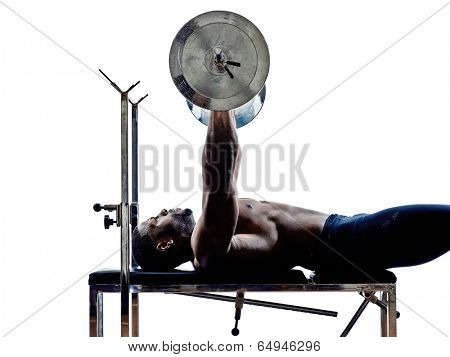 one muscular man body builders building weights in silhouettes on white background