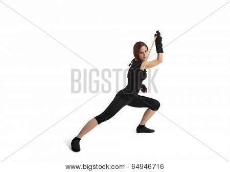 Woman Fencing On White Background