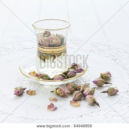 Rose flavored tea in an arabic cup