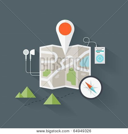 Route Map Flat Illustration