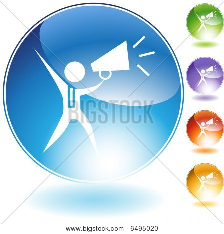Megaphone Businessman Crystal Icon