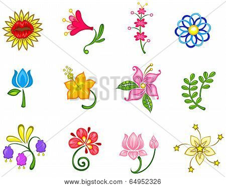 Colorful Fantasy Flower Icon Collection Set 2(vector)