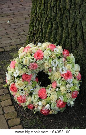 Sympathy Wreath Near Tree