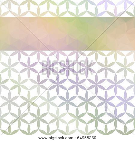 Green And Lavender Pastel Defocused Background With Geometric Ornament And Bright Stripe