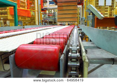 The conveyor line at factory