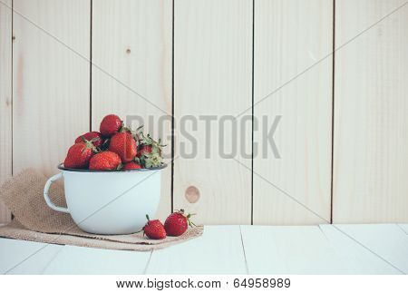 Strawberries In White Enamel Mug
