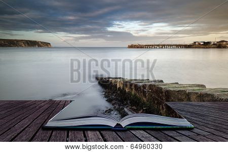 Book Concept Long Exposure Seascape Landscape During Dramatic Evening In Winter