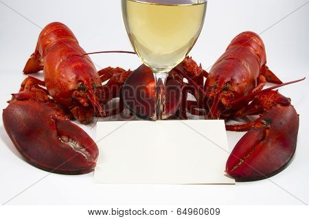 Two Lobsters with Menu or Recipe Card and Wine