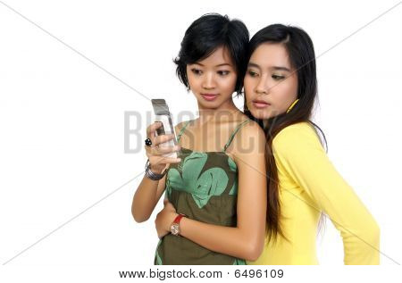 Two Girls Reading Bad Sms