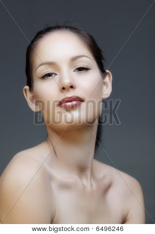Woman With Liner And Pink Lips