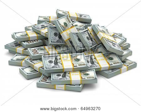 Heap of packs of dollars. Lots of cash money.3d