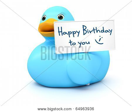 An image of a sweet blue ducky with happy birthday sign