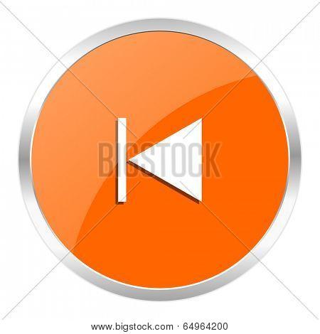 prev orange glossy icon
