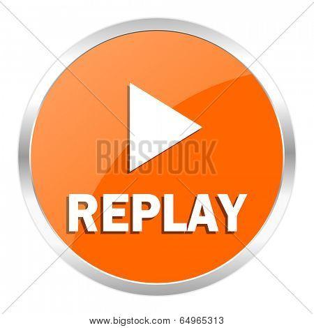 replay orange glossy icon
