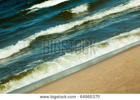Seascape. Sea Waves On Shore Of Sandy Beach.