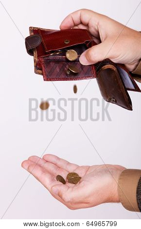 Broke Businessman With Empty Purse And Polish Coins