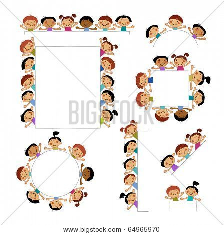 Set of templates for children peeking placard. background with isolated image of funny kids.