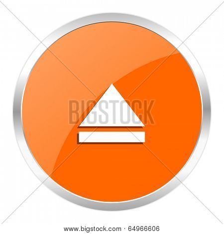 eject orange glossy icon