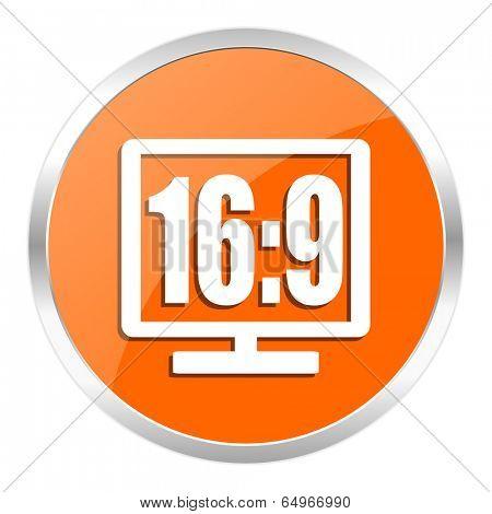 16 9 display orange glossy icon