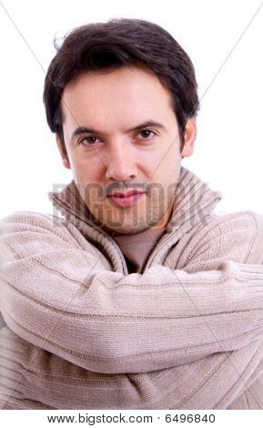 Portrait Of Young Man With Hands Folded Isolated On White Background