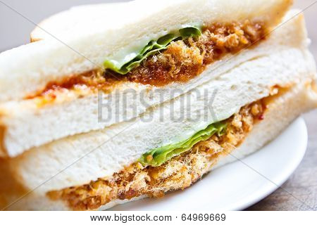 Sandwich With Shredded Pork And Chili Paste.