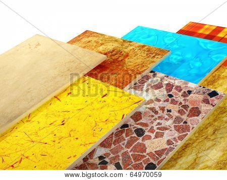 Samples of ceramic tiles. Isolated on white background