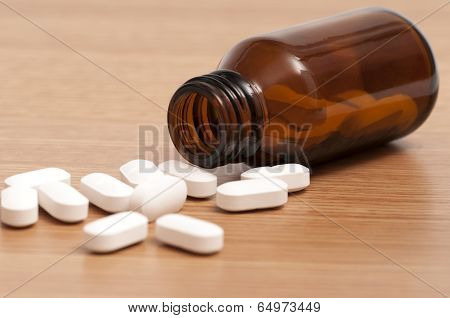 Capsules And Pills In A Bottle