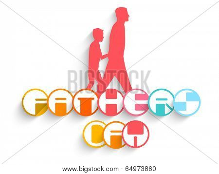 Creative sticky design with pink silhouette of a father holding hand of his son and stylish text on white background.
