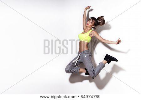 Attractive Sensual Woman Jumping