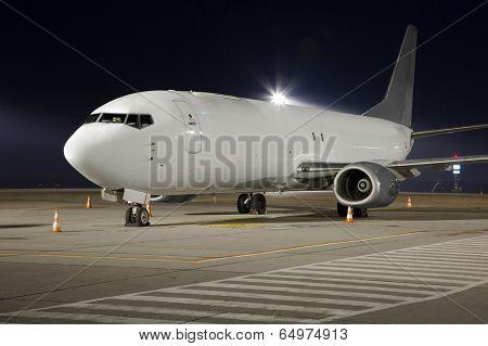 Cargo plane at night