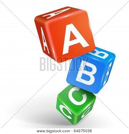 3D Dice Illustration With Word Abc