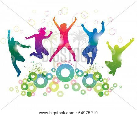 Young people on holiday. Detailed silhouettes of dancing teenagers. Concept background.