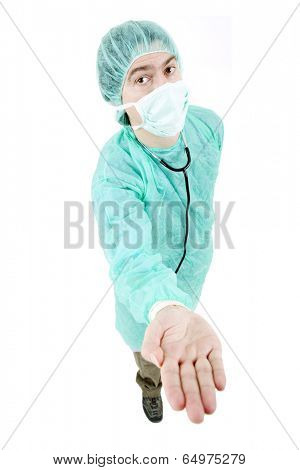 young male doctor offering his hand, isolated