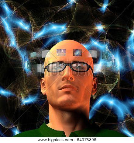 Images encircle mans head