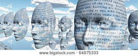 Human like faces covered in text  Text is from HG Wells The TIme Machine and has been in the public domain for many decades no release required