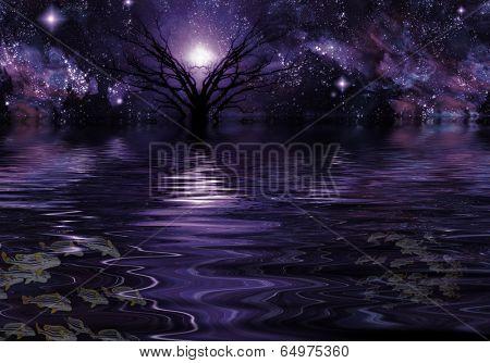 Deep Purple Fantasy Landscape